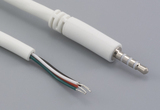 Cable, 1830 mm, 2.5 mm 4C 50-00407 slim audio plug to 5 mm tinned, 28 AWG, 30-00181, shielded, white
