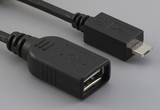 Cable, 100 mm, USB A receptacle to USB A micro male, 28 AWG, 30-00088 wire