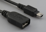 Cable, 100 mm, USB A receptacle to USB mini B 5P male, 28 AWG, 30-00088 wire