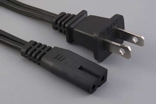 Ac cord, 2000 mm, U.S, NEMA 1-15P plug, TLY-1P to C7, TLY-53, 18 AWG, SPT-2 wire, 30-00246