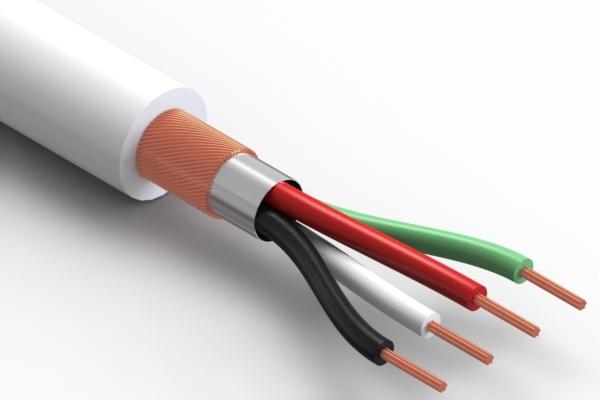 Wire, 4C BC, 28 AWG, 300V, 80°C, 3.8 mm, spiral + foil, PVC, white
