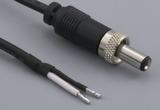 Cable, 2000 mm, 5.5x2.1x7.5mm 50-00010 locking dc plug to 5mm tinned, 18 AWG, UL1185, 30-00004 wire