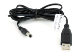 Cable, 1830 mm, USB A plug to 5.5x2.5x12 mm 50-00026 plug, center neg, 22 AWG, UL2468, 30-00008