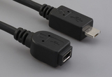 Cable, 100 mm, USB mini A receptacle to USB micro A male, 28 AWG, 30-00088 wire
