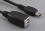 Cable, 100 mm, USB B receptacle to USB mini A male, 28 AWG, 30-00088 wire