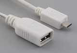 Cable, 100 mm, USB A receptacle to USB B micro male, 28 AWG, 30-00099 wire, white