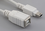 Cable, 100 mm, USB B receptacle to USB mini B 5P male, 28 AWG, 30-00099 wire, white