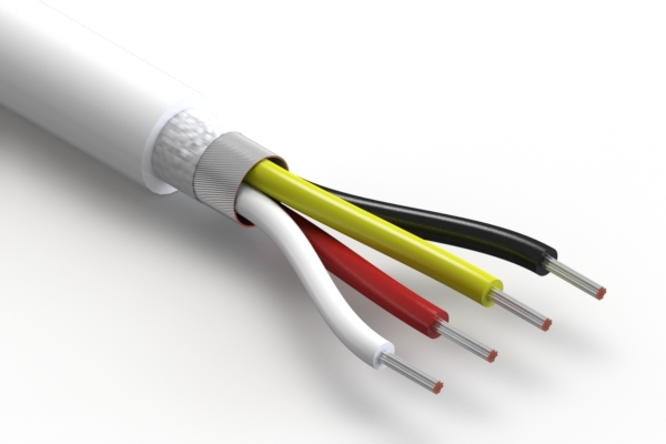 Wire, 4C TS, 18 AWG, UL20549, 300V, 80C, 6.8 mm, shielded, VW-1, TPU, white