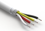 Wire, 4C TS, 18 AWG, UL20549, 300V, 80C, 6.8 mm, shielded, VW-1, TPU, white