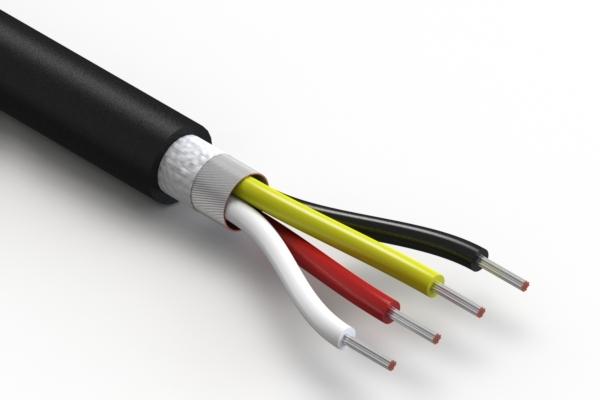 Wire, 4C TS, 22 AWG, UL20549, 300V, 80C, 5.7 mm, shielded, VW-1, TPU