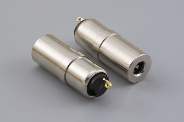 Connector, mono jack, 3.5x8.0xL24.4 mm, brass, nickel plated, molding style