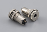 Connector, 3.5 mm 4C audio plug, brass, nickel plated, white insulators
