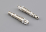 Connector, stereo plug, 2.5 mm, brass, nickel plated, white insulators