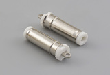 Connector, dc plug, 4.75x1.7xL21mm, brass, nickel plated, molding type, white insulators