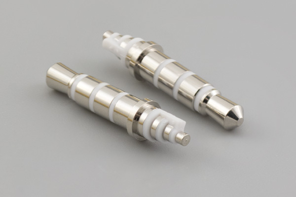 Connector, 4C audio plug, 3.5xL20.7 mm, brass, nickel plated, white, molding style