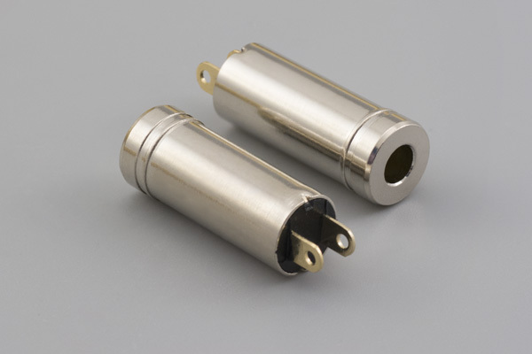 Connector, mono jack, 3.5x8.0xL22.8 mm, brass, nickel plated, molding style
