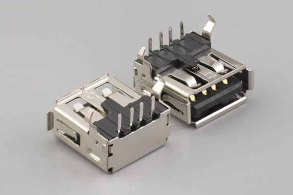 Connector, USB A jack PCB mount, 90°, nickel shell, board lock, black insulator, tray