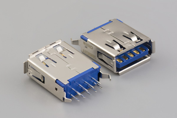 Connector, USB A 3.0 Jack, PCB mount, 180°, nickel shell, DIP, board lock, blue insulator, tray