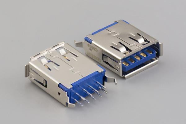 Connector, USB A 3.0 Jack, PCB mount, 180°, nickel shell, DIP, board lock, blue insulator, tray