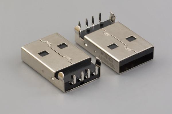 Connector, USB A plug, PCB mount, 90°, nickel shell, board lock, black insulator, tray