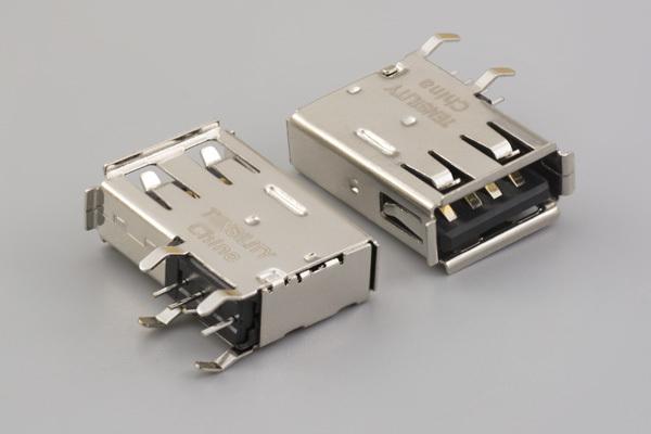 Connector, USB A Jack, PCB side-mount, 90°, nickel shell, board lock, black insulator, tray