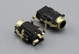 Connector, 6C audio jack, 3.5xL18.6 mm, PCB mount, 90°, Au plated