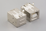 Connector, USB B Jack, PCB mount, 90°, nickel shell, shielded, board lock, white insulator, tray