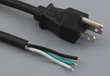 Ac cord, 3000 mm, U.S, NEMA 5-15P plug, TLY-13 to tinned, 18 AWG, SJT wire, 30-00248
