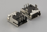 Connector, USB mini B Jack, PCB mount, 90°, nickel shell, DIP, black insulator, tube