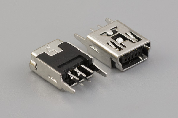Connector, USB mini B Jack, PCB mount, 180°, nickel shell, DIP, black insulator, tray