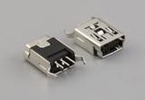 Connector, USB mini B Jack, PCB mount, 180°, nickel shell, DIP, board lock, black insulator, tray