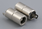 Connector, dc jack, 5.5x2.5x17.6 mm, molding style, spring contacts, nickel plated, 105 °C