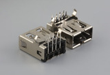 Connector, USB A 2.0 jack, reversible insertion, nickel shell, PCB mount, 90°, thru hole, board lock
