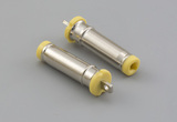 Connector, dc plug, 4.0x1.7xL19.0 mm, spring contacts, brass nickel plated, yellow insulator