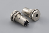 Connector, mono jack, 3.5x20.5 mm, panel mount, nickel plated, threaded, nut and washer
