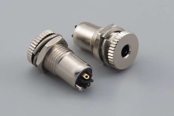 Connector, stereo jack, 3.5x20.5 mm, panel mount, nickel plated, threaded, nut and washer