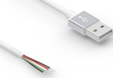 Cable, 2000 mm, 50-00575 USB A plug to 5 mm tinned, 26/28 AWG, 30-00873 wire, white