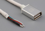 Cable, 2000 mm, 50-00577 USB A receptacle to 5 mm tinned, 26/28 AWG, 30-00873 wire, white