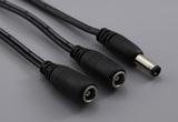 Cable, 450 mm, 5.5x2.1x12 mm 50-00024 dc plug to y-split to 2x 5.5x2.1 mm 50-00025 dc jack, 18 AWG